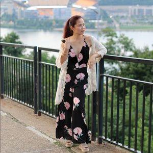 Lush Surplice Floral Jumpsuit
